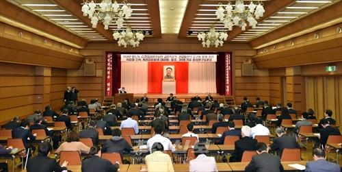 김정일장군님의 로작발표 30돐기념 중앙연구토론회가 중앙회관에서 진행되였다.(촬영-로금순기자)